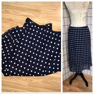 Vintage Polka Dot Navy White Midi Skirt Sz 12